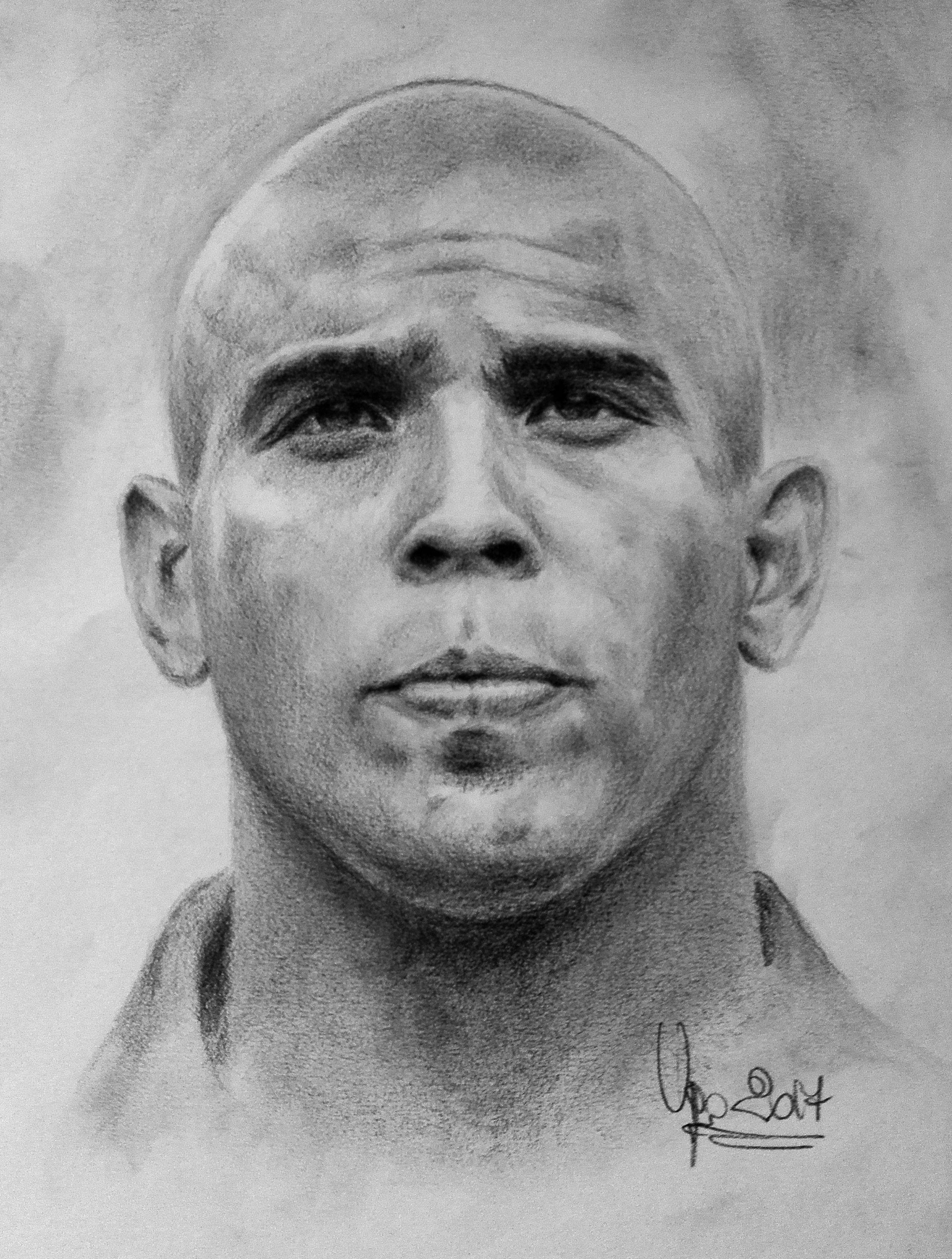 Ronaldo Nazario da Lima. Pencils and charcoal by U