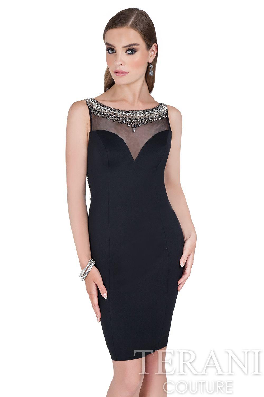 Illusion yoke black dress