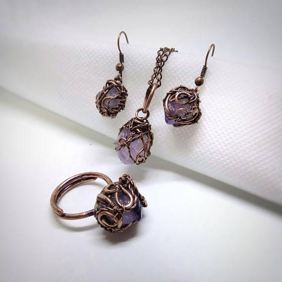 Natural raw amethyst jewelry set copper wire wrap amethyst set natural raw amethyst jewelry set copper wire wrap amethyst set earrings amethyst amethyst aloadofball Choice Image