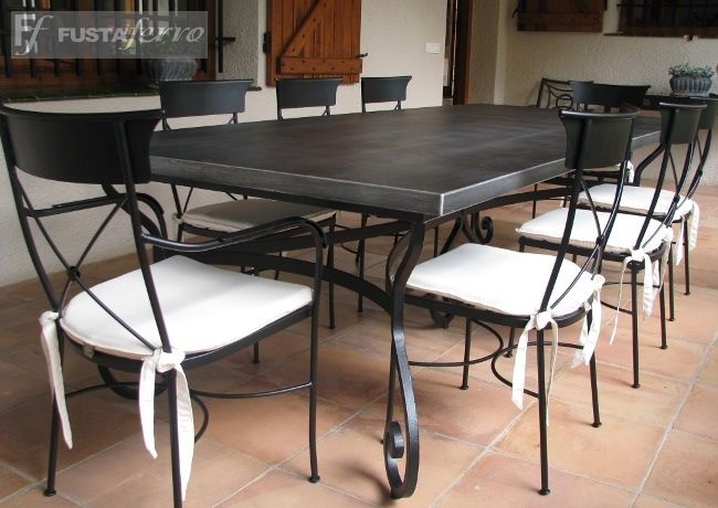 Fusta i ferro mesa de hierro forjado mod damasco for Muebles de jardin de hierro forjado