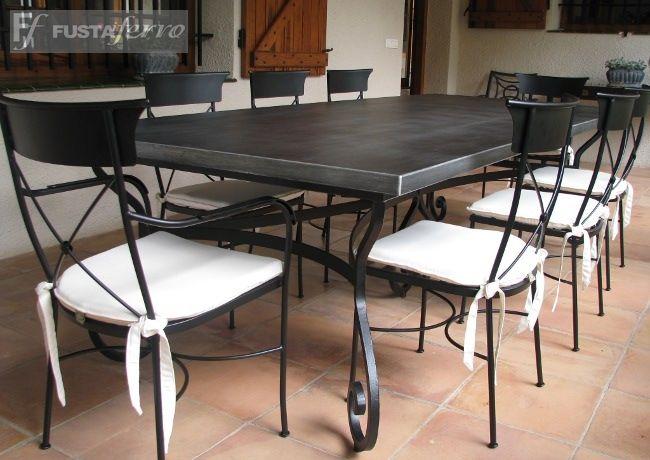 Fusta i ferro mesa de hierro forjado mod damasco for Mesa exterior terraza