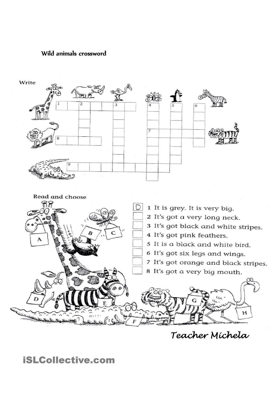 wild animals crossword enkku ingles primaria fichas actividades de ingles tarea de ingles. Black Bedroom Furniture Sets. Home Design Ideas