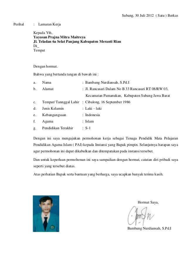 contoh surat lamaran kerja guru agama