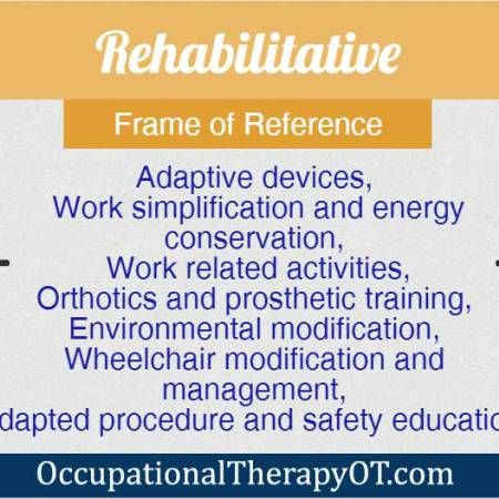Rehabilitative Frame of Reference | OT | Pinterest | Occupational ...