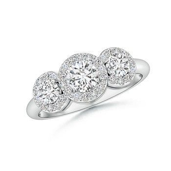 Angara Three Stone Diamond Halo Ring f0xi8HWDJG