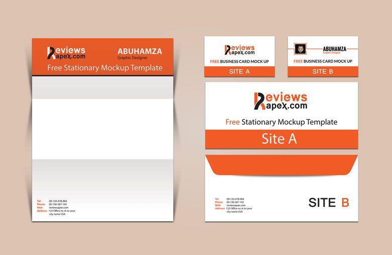 Brand Identity business card, letterhead \ envelope mockup - id card psd template