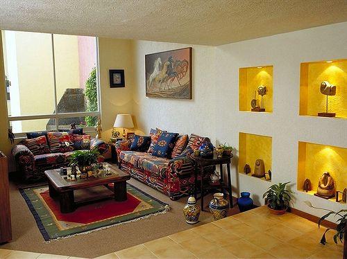 Decoraci n de interiores con estilo mexicano en 2019 - Salones estilo colonial moderno ...