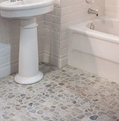 Rock And Pebble Mosaic Floor Tile With Subway Tile On The Walls For Kitchen  And Bathroom Design Ideas