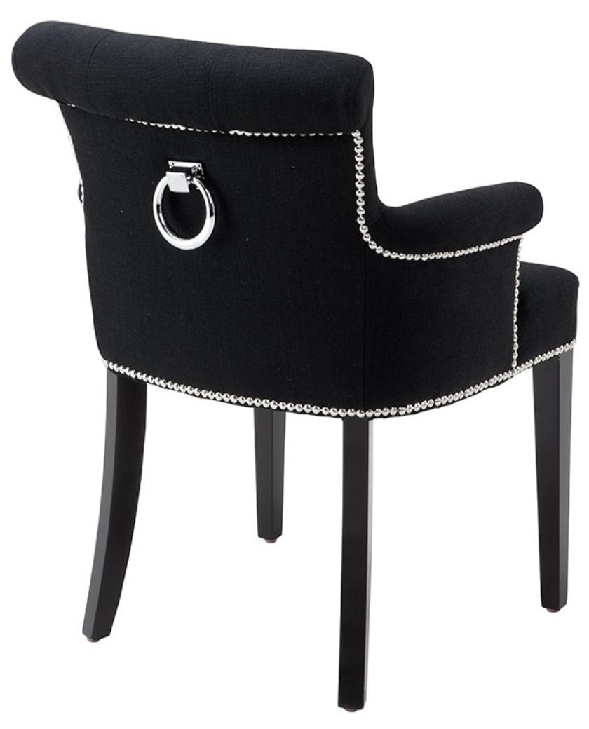 Black Cashmere Dining Chair With Arms Ring Handle Allissias Attic Vintage French Style