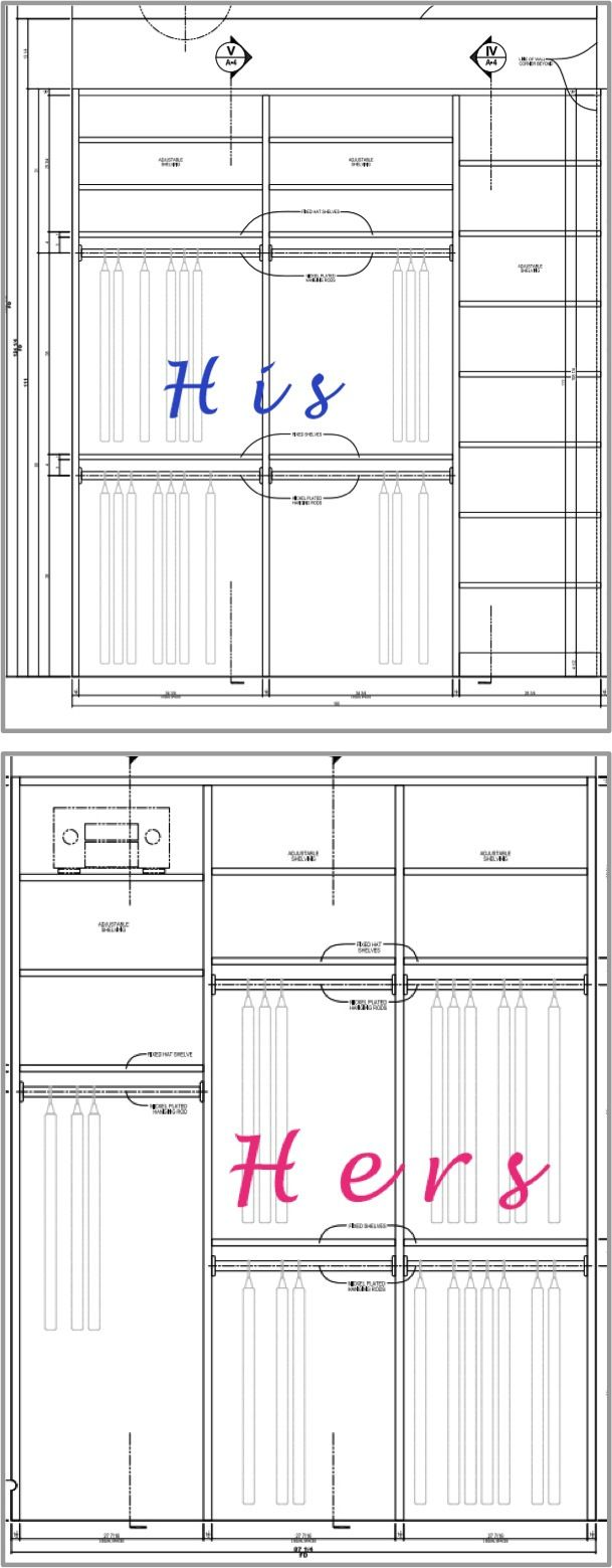 His And Hers Walk In Closet his and hers sections of the closet. planning for organization