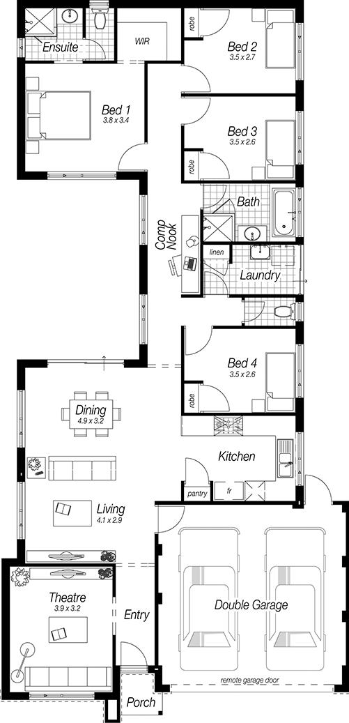 Narrow Block House Designs Perth The Abbey Complete Homes Kitchen Design Styles Best Kitchen Layout Kitchen Designs Layout