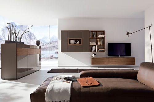 Moderne Wohnwand / Aus Eiche / Aus Metall / Hochglanzlackiertes Holz NEO  Hülsta
