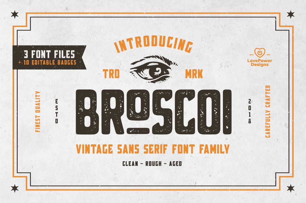 Broscoi Vintage Font Family Free Font Demo Link Included 156323 Themed Font Bundles Vintage Fonts Font Bundles Vintage Graphic Design