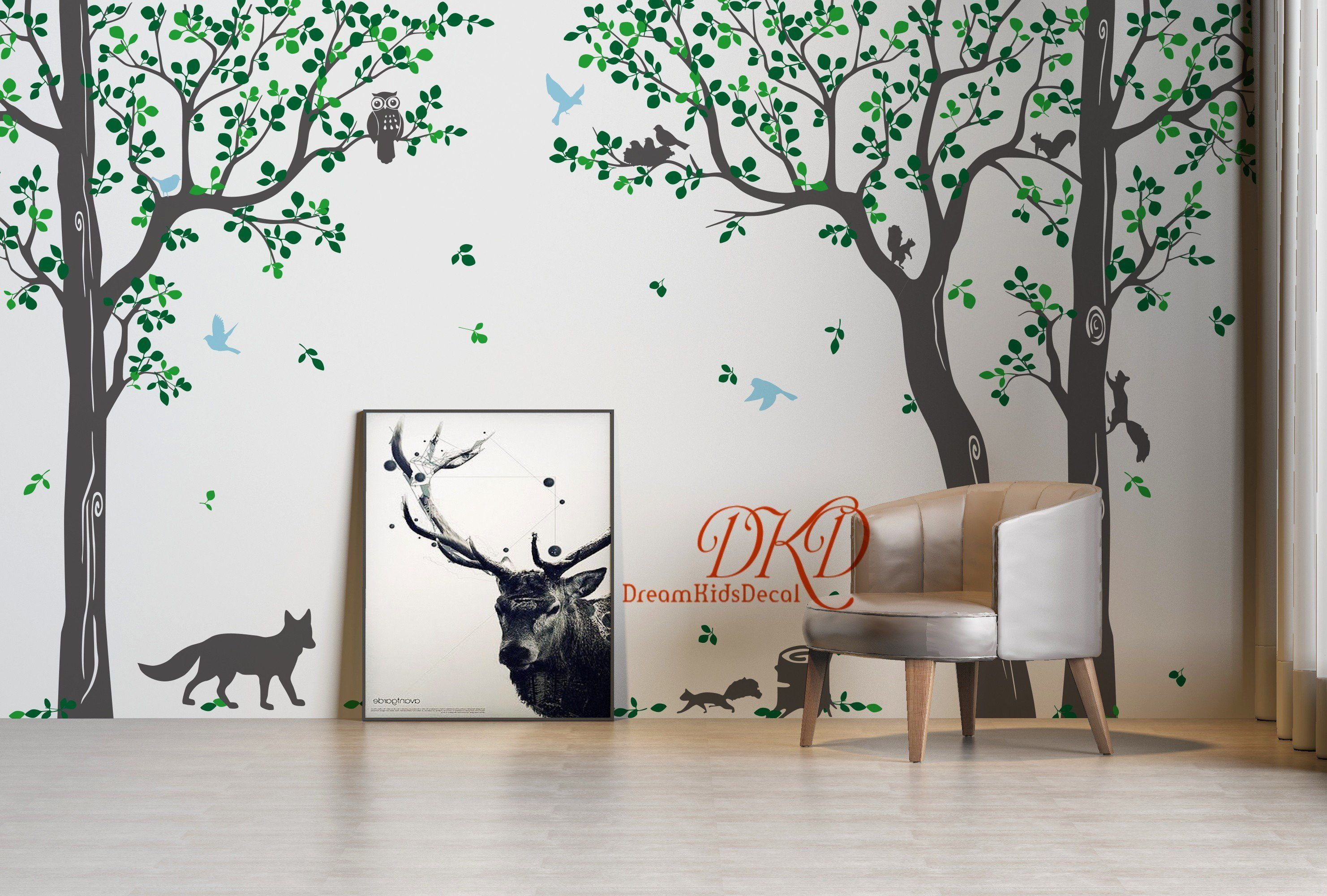 Wandtattoo Baum Mit Fotos Tree Wall Decal Nursery Wall Decals Tree With Birds Fox Owls