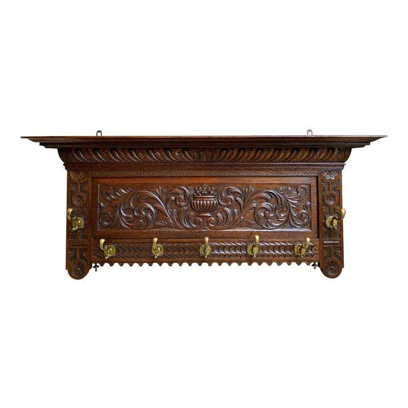Antique French Country Carved Dark Oak Wall Shelf Coat Hat Plate Rack Brass #plateracks