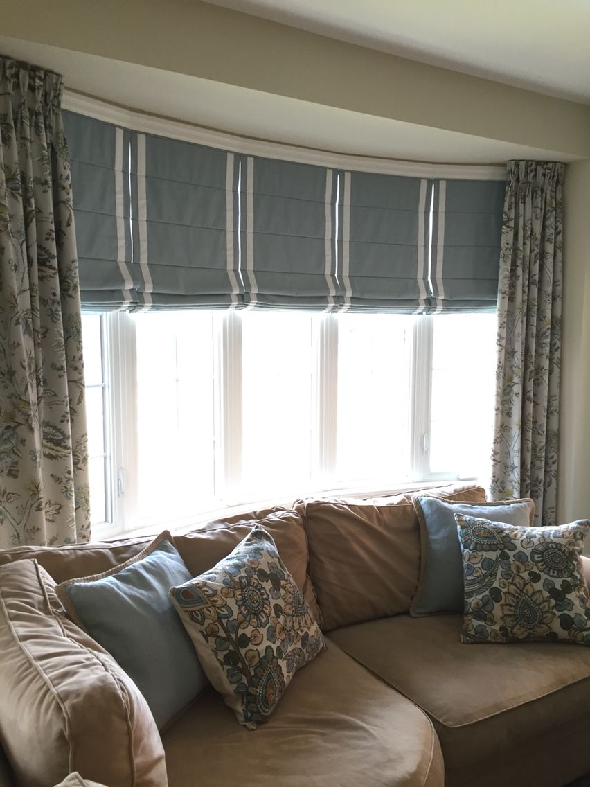 I Am Often Asked How To Dress A Bow Window Here Is A Great Option Custom Roman Blinds With Bato Window Treatments Living Room Bow Window Curtains Living Room