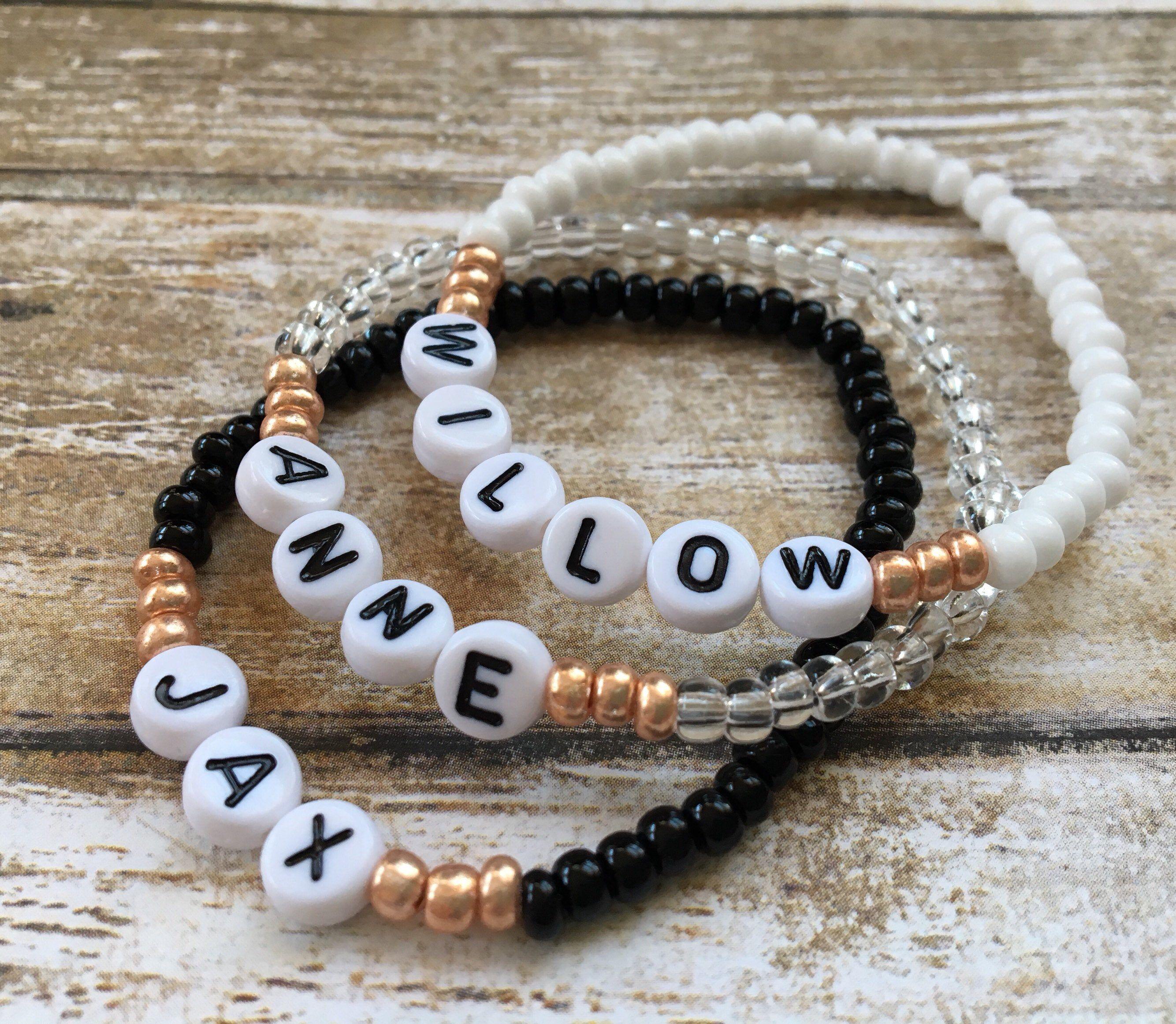bracelet white beads and letter