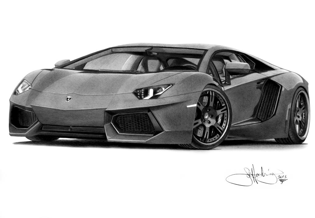 lamborghini aventador - Lamborghini Black And White Drawing