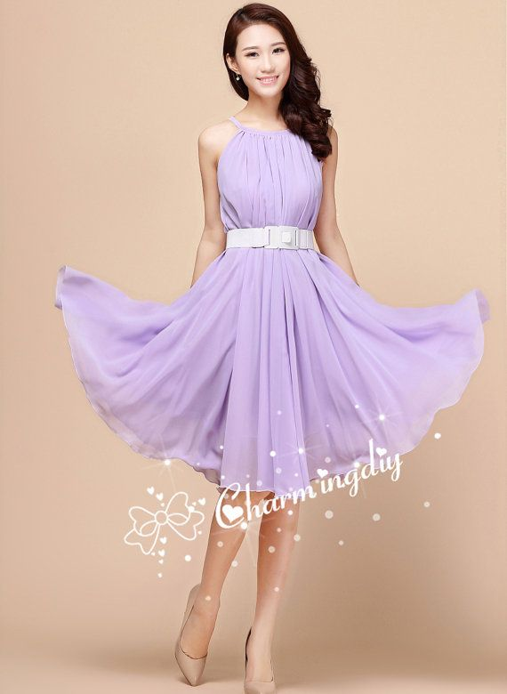 110 Colors Chiffon Light Purple Knee Dress Party Dress Wedding