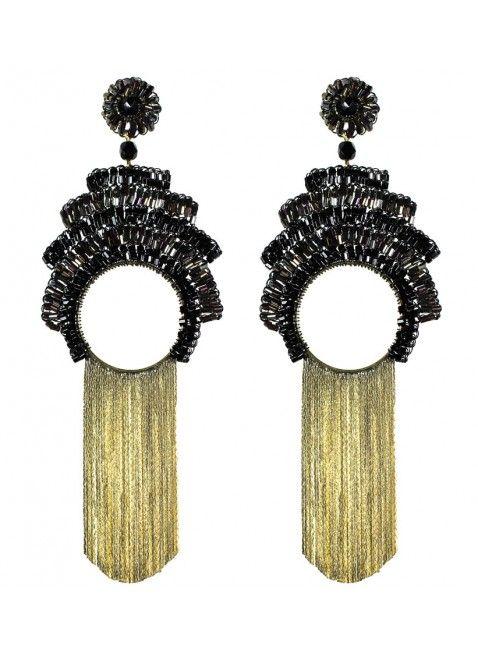 575d38874d54a BRINCOS NIPPON BLACK WIRE - brincos feitas a mão em crochê com fio  esmaltado preto, contas de vidro e lindas franjas.