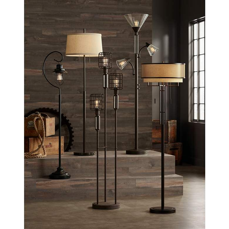 Franklin Iron Works Alamo Double Shade Floor Lamp 32x88 Lamps
