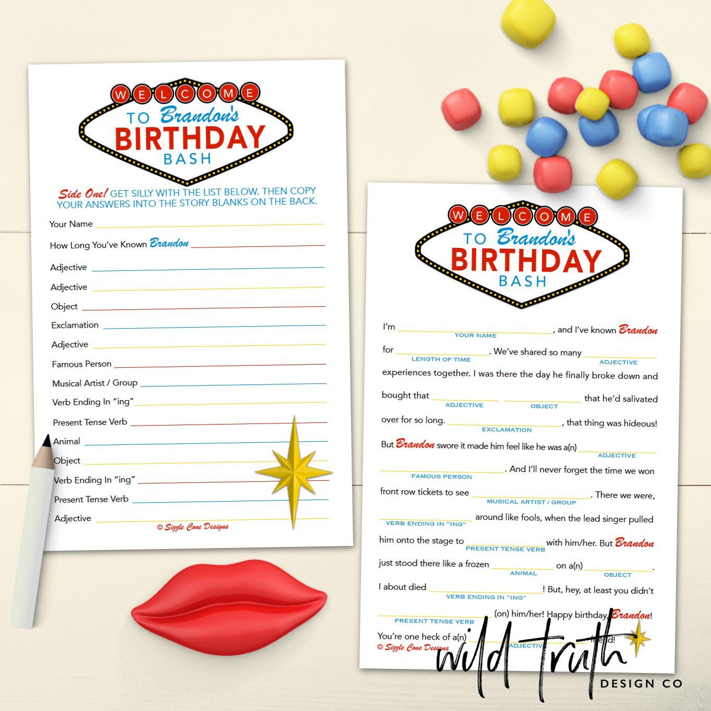 Personalized Vegas Birthday Party Mad Lib Game Printable