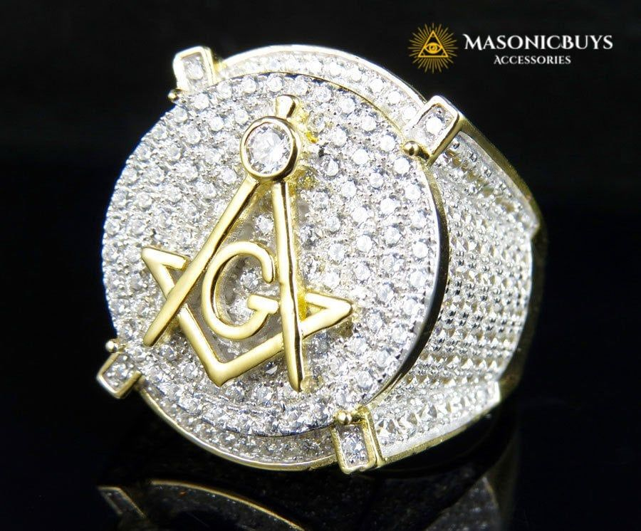 18k Yellow Gold Filled Masonic Ring With The Highest Grade Lab