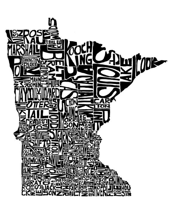 Mn State Map With Cities And Counties.Minnesota Typography Map Art Unframed Print Customizable