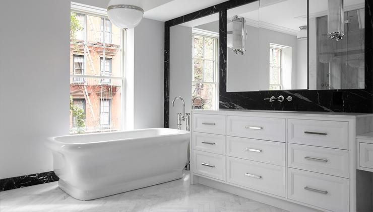 Fabulous Black And White Bathroom Features A Ralph Lauren Hendricks Large  Globe Pendant Which Hangs Over