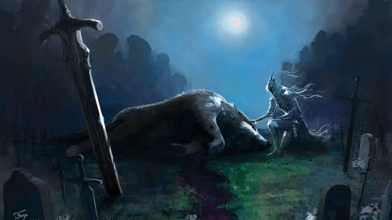 Dark Souls Sir Artorias And Great Grey Wolf Sif Dark Souls