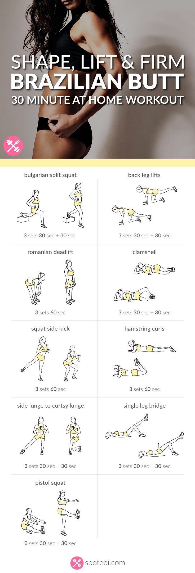 Want to know the secret to a perfect booty? Try this 30 minute sculpting and lifting Brazilian butt workout. Shape and firm your glutes and thighs fast! http://www.spotebi.com/workout-routines/shape-lift-firm-brazilian-butt-workout/