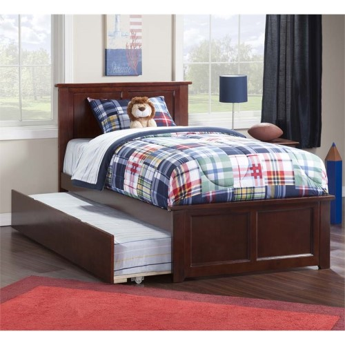 Atlantic Furniture Madison Urban Twin Trundle Platform Bed in Walnut