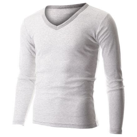 Men's Casual Small Striped V-Neck Long Sleeve Tee Shirt (TVL1001) #FLATSEVEN FLATSEVENSHOP.COM