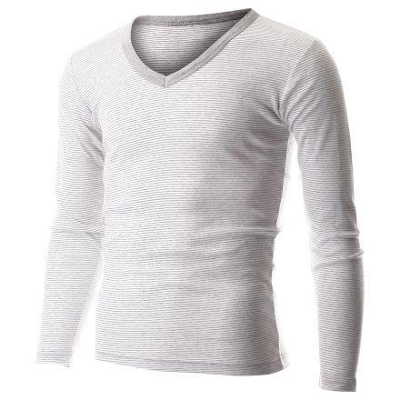Men's Casual Small Striped V-Neck Long Sleeve Tee Shirt (TVL1001) #FLATSEVEN FLATSEVENSHOP.COM