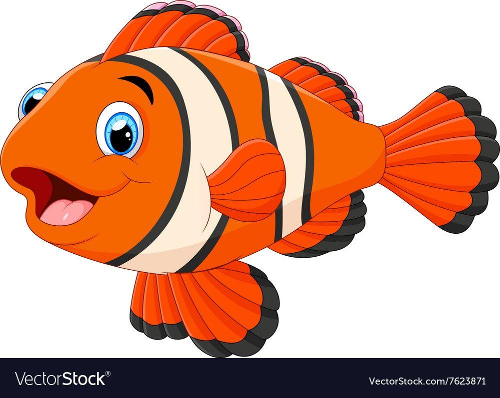 Cute Clown Fish Cartoon Vector Image On Vectorstock Clown Fish Cartoon Art Drawings For Kids Clown Fish