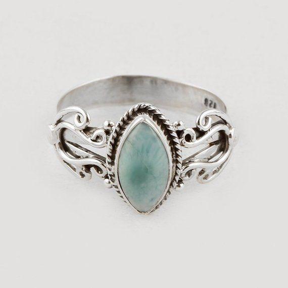 Fine Rings Fashion Labradorite Ring Marquise shaped Gemstone 925 ...