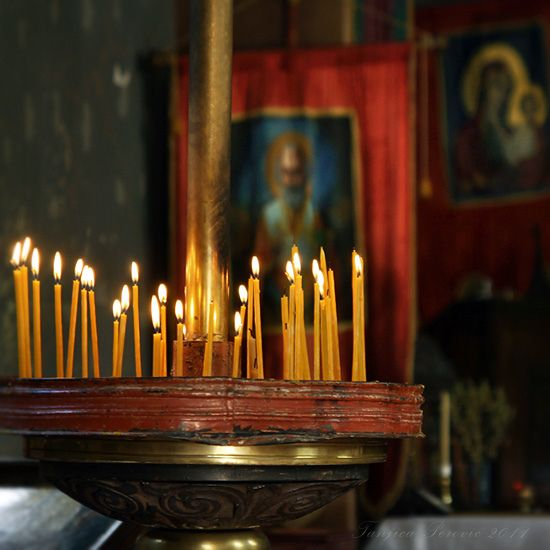 Calling upon the Mediators  Orthodox beeswax candles  Prayer