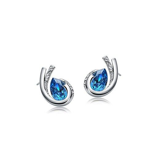 Carved Teardrop-shaped Swarovski Crystal Earrings,Wedding Earrings