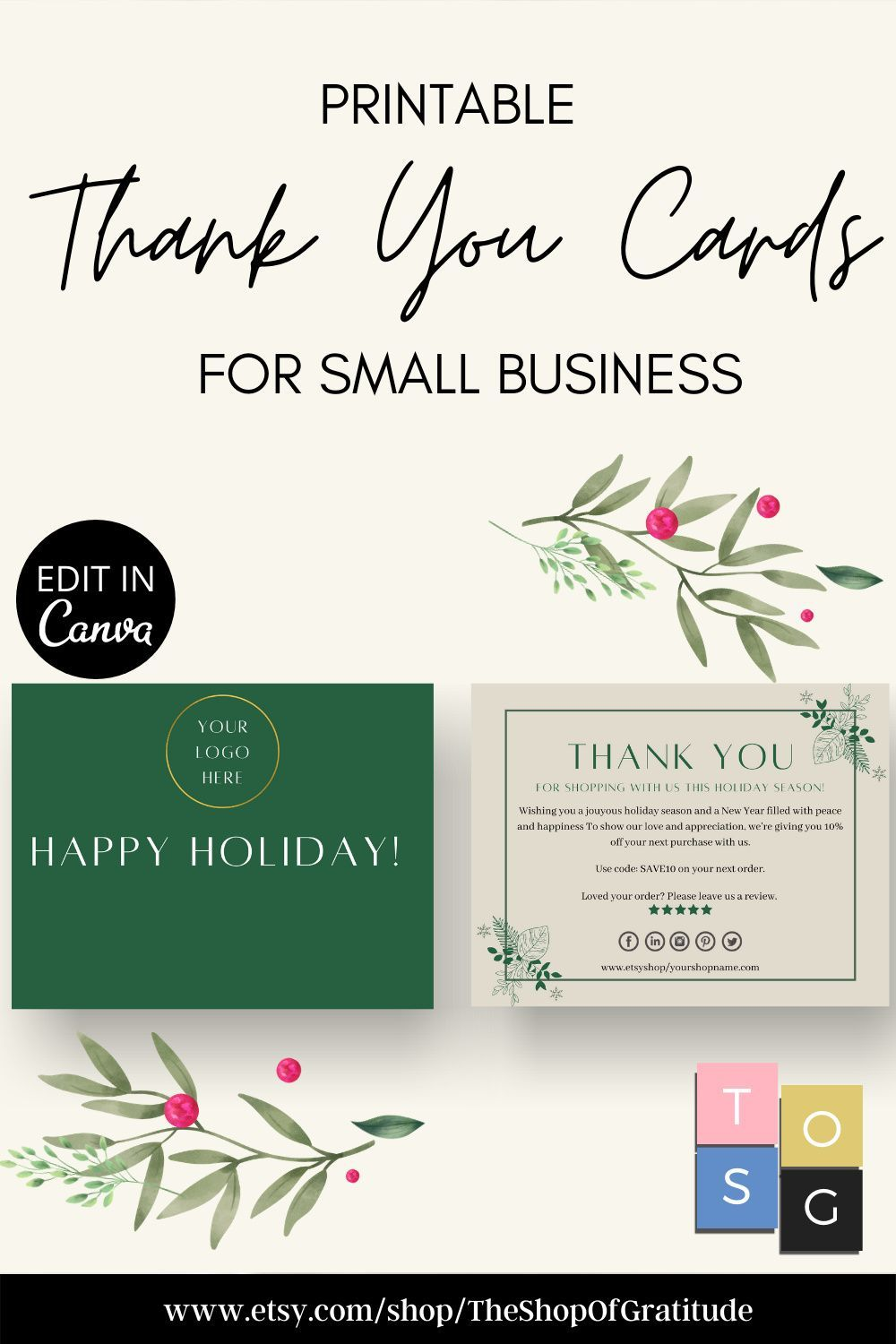 Holiday Thank You Cards For Small Business Printable Holiday Thank You Card Business Templat Printable Thank You Cards Thank You Card Template Thank You Cards