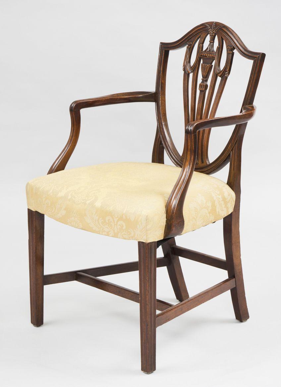 Antique English Period Hepplewhite Shield Back Armchair 18th
