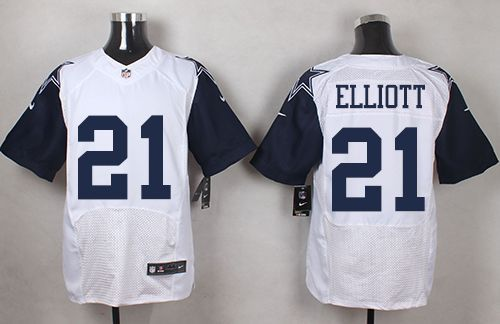 the latest f7a0a 3f1b8 Nike Cowboys #21 Ezekiel Elliott White Men's Stitched NFL ...