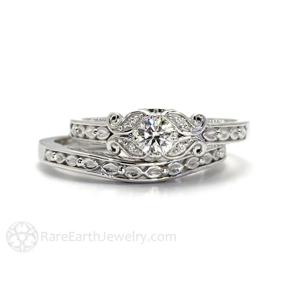 Rare Earth Jewelry  Vintage Inspired Diamond Engagement Ring With Filigree  Leaf And Scroll Details 14k