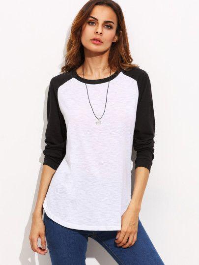 Camiseta manga larga raglán cuello redondo color combinado ... a8b94cd43255d