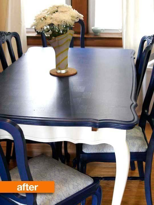 Before After A Basic Table Goes Two Tone Painted Dining Table Blue Dining Tables Dining Table Chairs