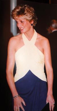 Designed by Catherine Walker. Stunning yellow and blue silk. Diana wore this gown to a film premier in 1992. $33,350.00 Purchased by Bruce and Jolene McCaw of Seattle, Wa.