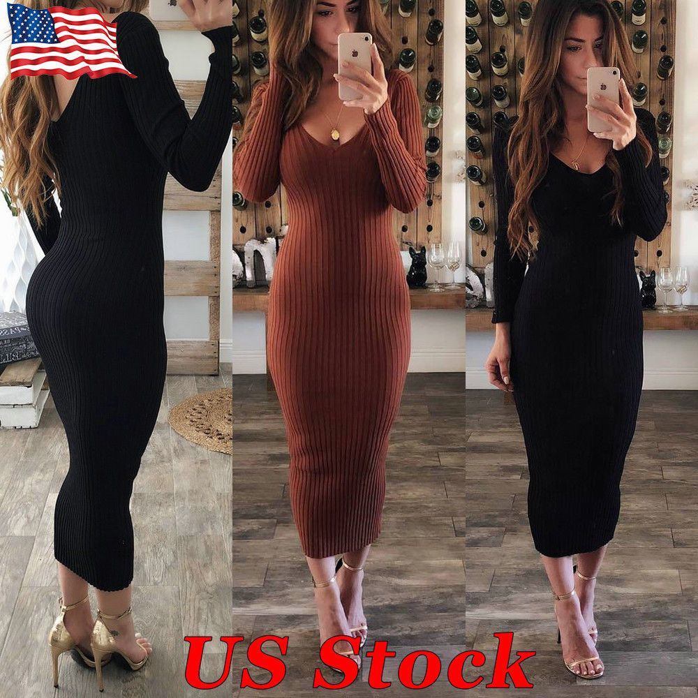 5c8b201bf24de 14.99 | Fashion Women's V Neck Long Pencil Winter Knitted Sweater Bodycon  Party Dress US ❤ #fashion #womens #pencil #winter #knitted #sweater #bodycon  ...