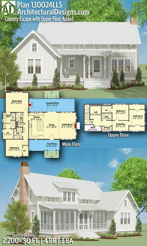 Country Escape Plan 130024LLS with 4 Beds   3 full baths in just over 2,200 Sq Ft.