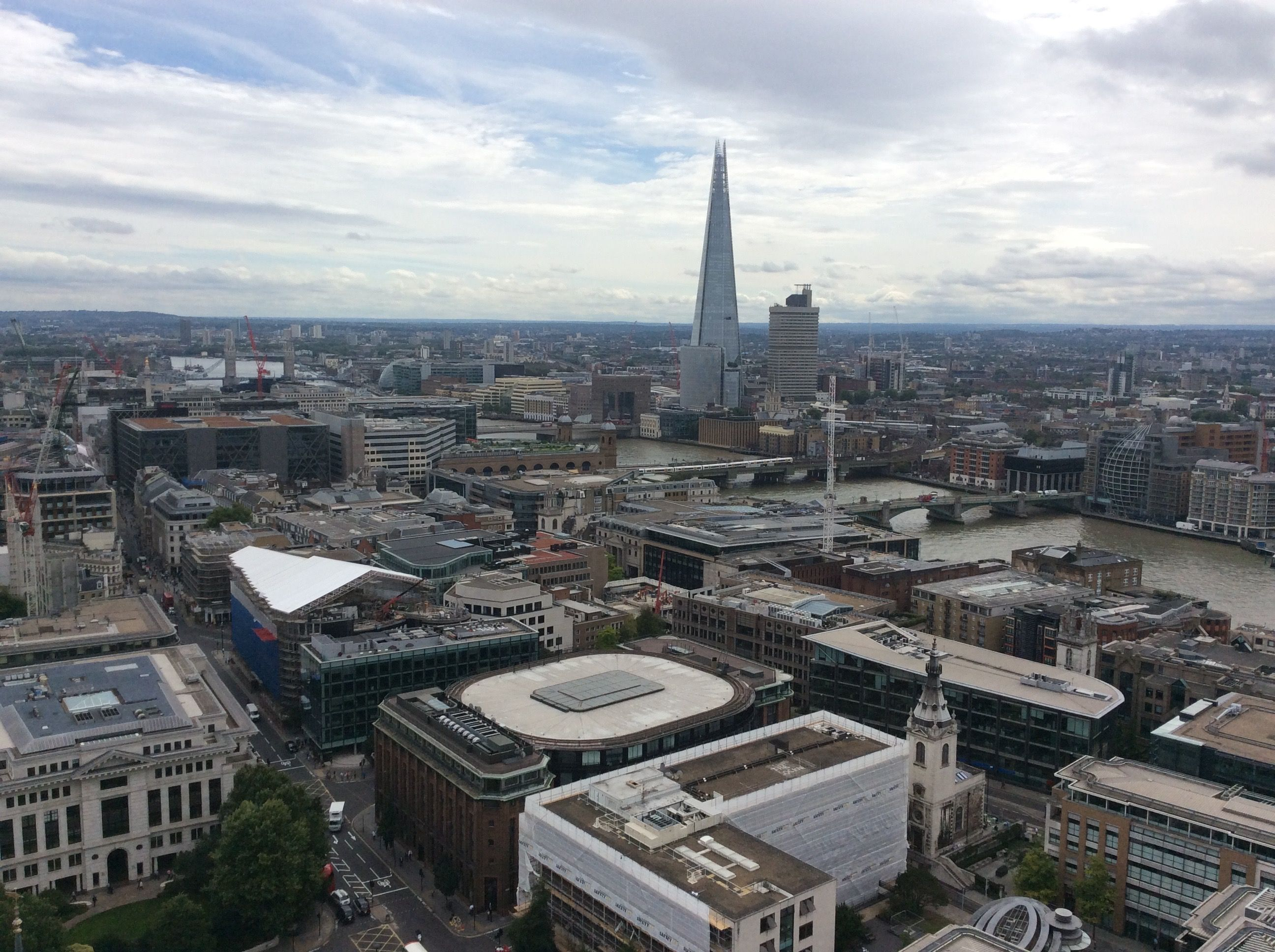 Looking east from St Pauls past The Shard to Tower Bridge and The Tower of London