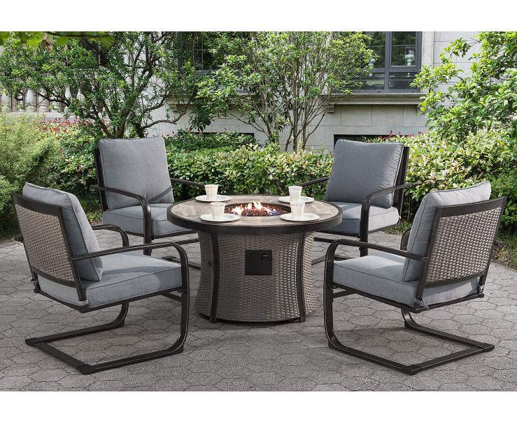 Gilford 5 Piece Fire Pit Chat Set Big Lots In 2020 Fire Pit Dining Set Outdoor Fire Pit Table Fire Pit Chat Set