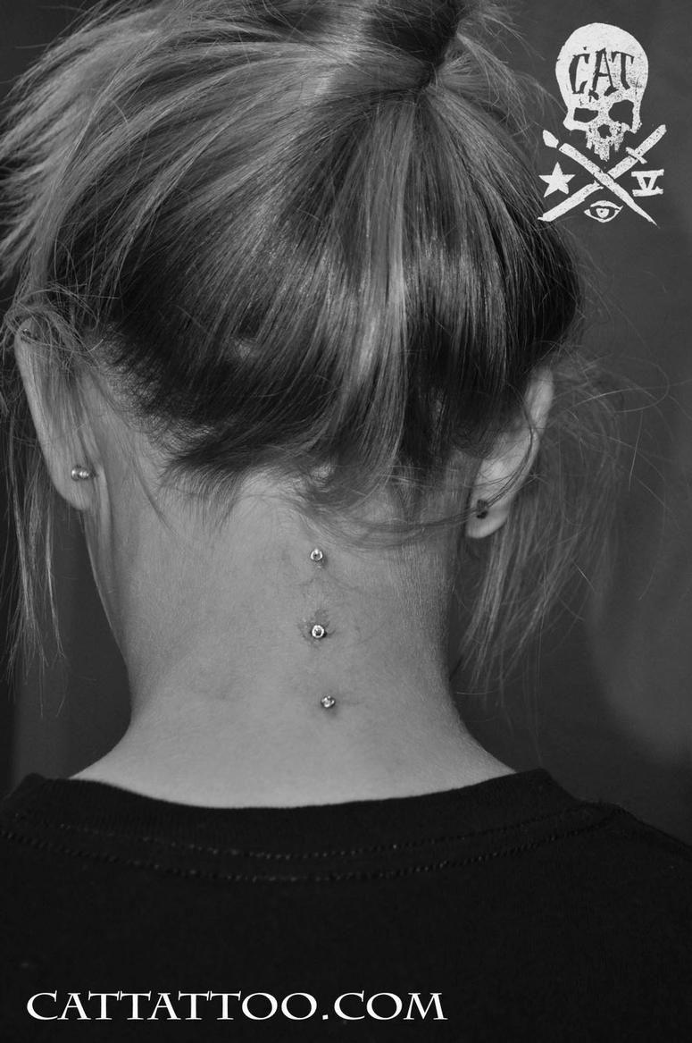 I will get dermals down my neck! Love love love <3 | Back of neck tattoo,  Neck tattoo, Cute piercings